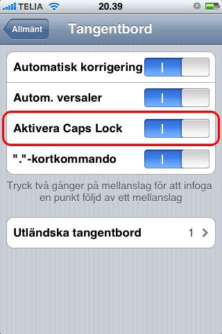 Aktivera caps lock